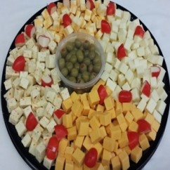 Cubed Cheese Platter With Crackers & Olives